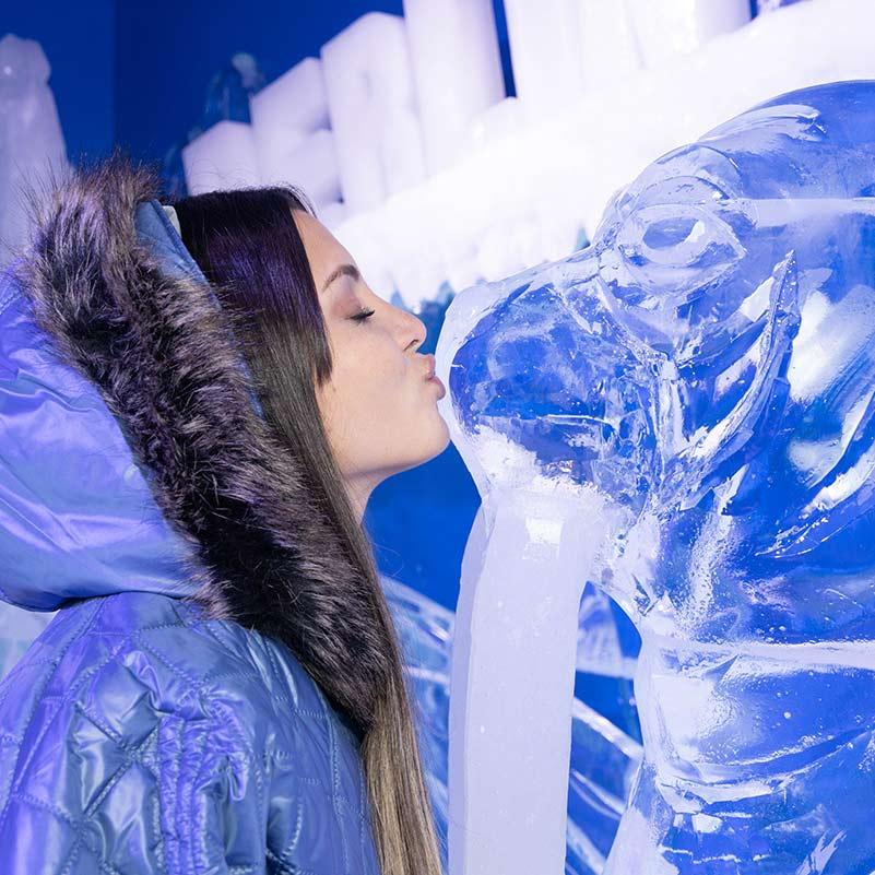 A girl kissing an ice sculpture of a walrus in the Berlin Icebar.